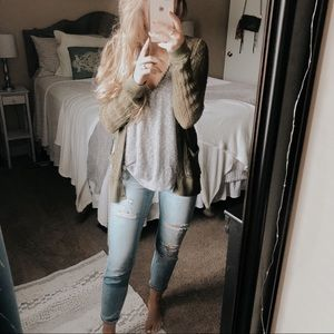 Free People Beach Olive Green Knit Cardigan